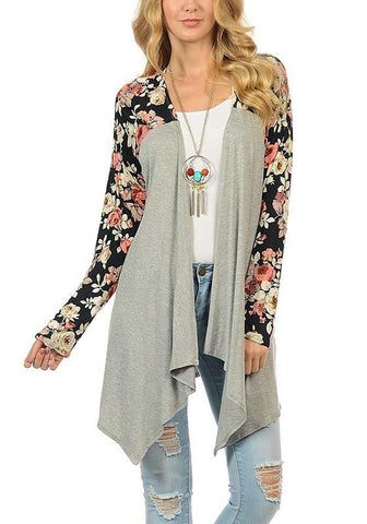 Grey Floral Print Long Sleeve Casual Coat