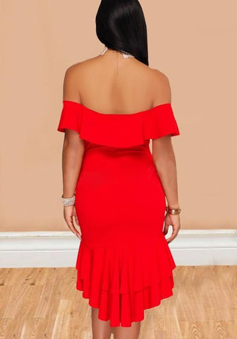 Red Ruffle Irregular Swallowtail Off Shoulder Backless Mermaid Homecoming Cocktail Party Midi Dress