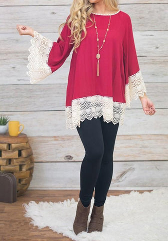 Red Patchwork Lace Hollow-out Round Neck Long Sleeve Blouse