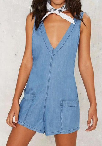 Blue Plain Pockets Mid-rise Fashion Denim Short Jumpsuit