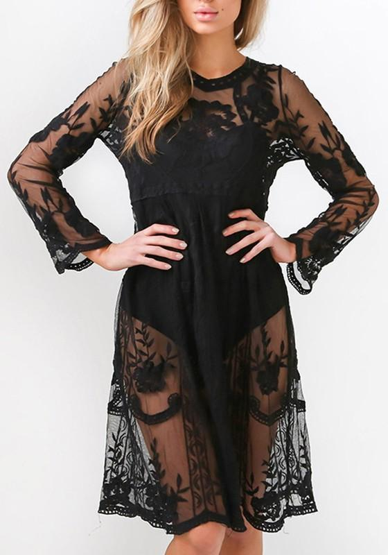 Black Patchwork Grenadine Pleated Embroidery Sheer Bikini Cover Up Long Sleeve Midi Dress