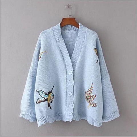 Light Blue Animal Embroidery Single Breasted V-neck Casual Cardigan Sweater