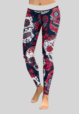 Red Skull Print Stretch Yoga Sock Casual Sports Long Legging