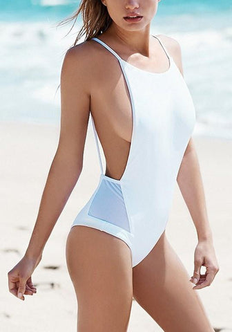 White Patchwork Shoulder-Strap Round Neck Fashion Swimwear