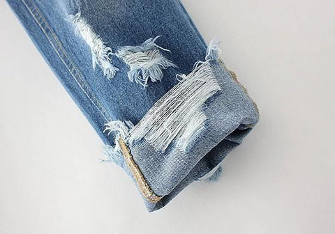 Blue Plain Cut Out Fashion Long Jeans