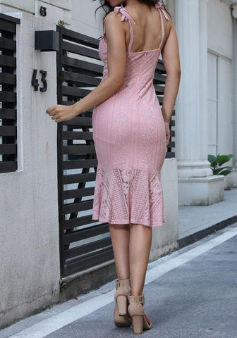 Pink Patchwork Spaghetti Strap Lace Mermaid V-neck Sweet Party Midi Dress