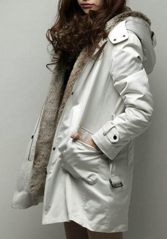Beige Pockets Zipper Hooded V-neck Long Sleeve Cardigan Coat