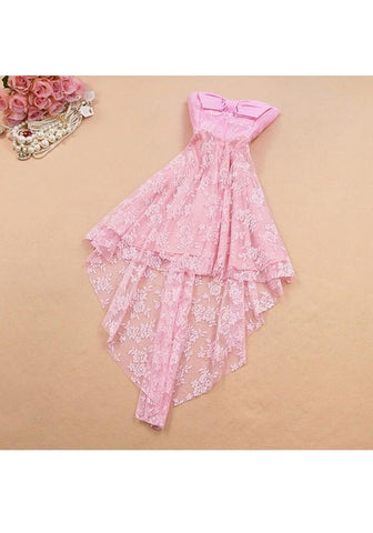 Pink Patchwork Irregular Bow Bandeau Lace Sweet Midi Dress