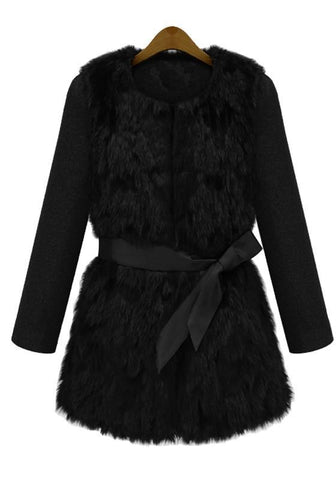 Black Patchwork Faux Fur Sashes Long Sleeve Fashion Coat
