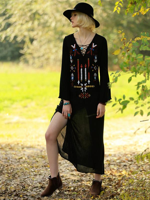 Bohemia Embroidery Long Sleeve Side Split Maxi Dress