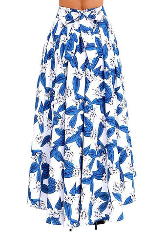 White Leaves Pattern Sashes Irregular Draped High-low High Waisted Bohemian Party Skirt