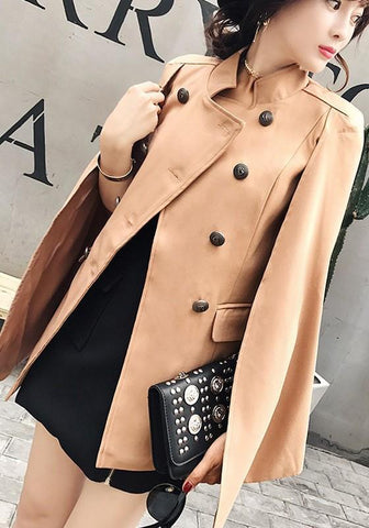 Khaki Patchwork Irregular Pockets Double Breasted Band Collar Cape Coat