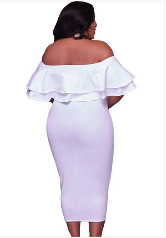 White Falbala Plus Size Bodycon Off Shoulder Cocktail Party Midi Dress