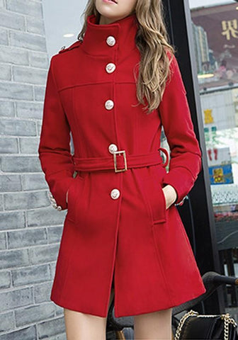 Red Pockets Single Breasted Belt Long Sleeve Wool Coat
