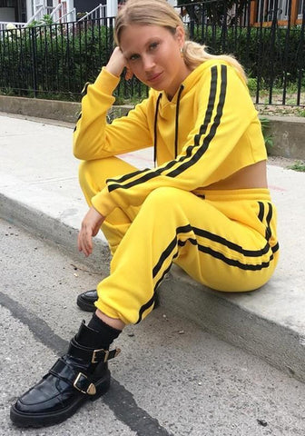 Yellow Striped Drawstring Elastic Waist Loose Long Pants