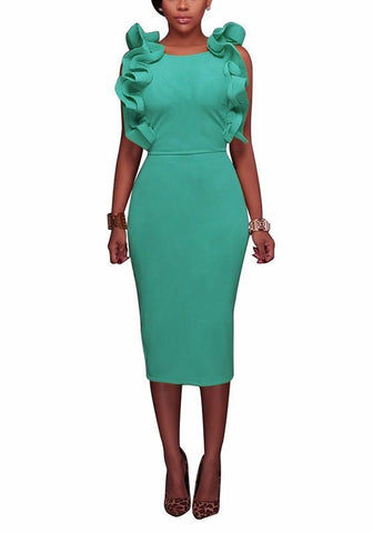 Green Cascading Ruffle Cut Out Round Neck Fashion Midi Dress