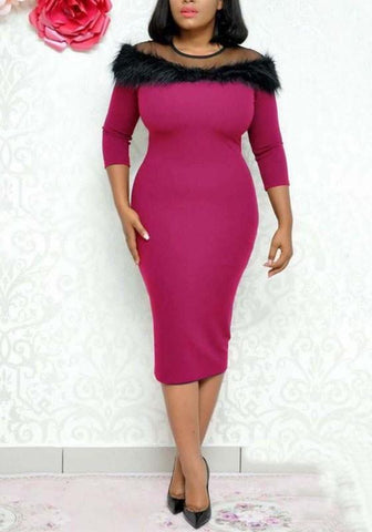 Rose Carmine Patchwork Grenadine Faux Fur 3/4 Sleeve Elegant Cocktail Party Midi Dress