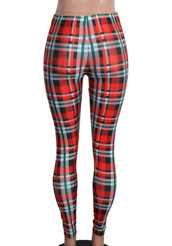 Red Plaid Skinny Yoga Christmas Sports Workout Party Long Legging