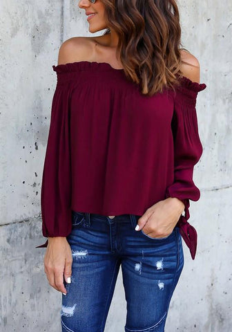 Red Draped Off Shoulder Backless Office Worker/Daily Going out Blouse