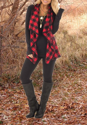 Red-Black Plaid Print Irregular Christmas Turndown Collar Casual Cardigan Vest Coat