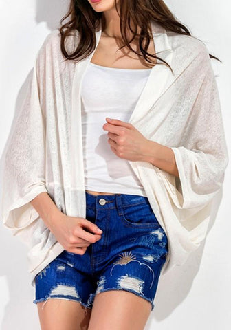 Beige Draped Mandarin See-through Dolman Sleeve Casual Coat