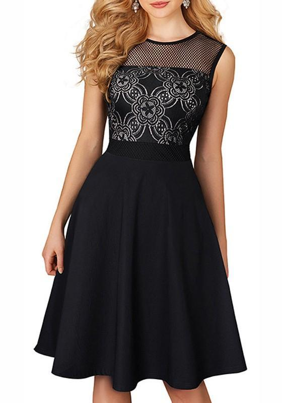 Black Floral Pleated Cut Out Elegant Party Midi Dress
