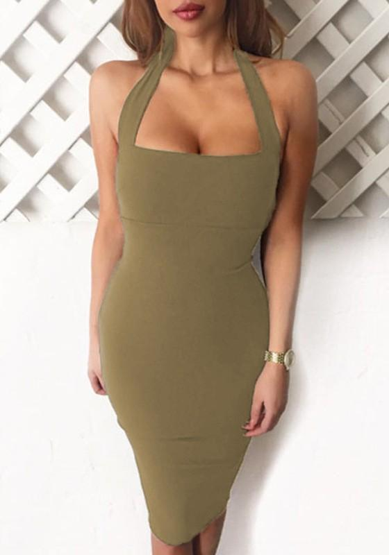 Army Green Bandeau Halter Neck Backless Off Shoulder Midi Dress