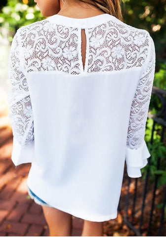 White Patchwork Lace Cut Out Long Sleeve Casual Blouse