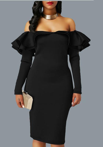 Black Zipper Cascading Double Ruffle Off Shoulder Backless Long Sleeve Party Midi Dress