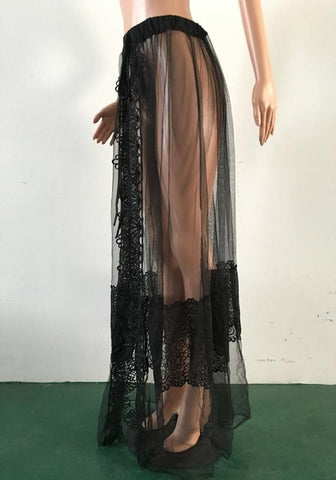 Black Patchwork Grenadine Lace Drawstring Waist Slit High Waisted Beach Skirt