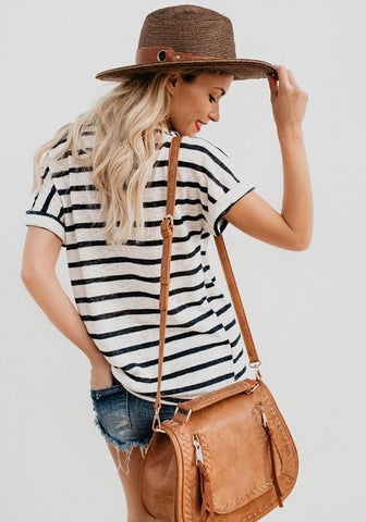 Black-White Striped Round Neck Casual Going out T-Shirt