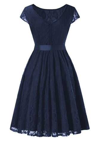 Navy Blue Lace Pleated Bow Round Neck Vintage Party Midi Dress