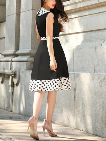 New White Polka Dot Print Sashes Zipper Going out Midi Dress