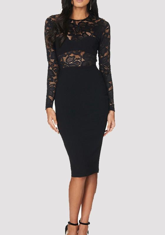 Black Patchwork Lace Long Sleeve Homecoming Party Midi Dress