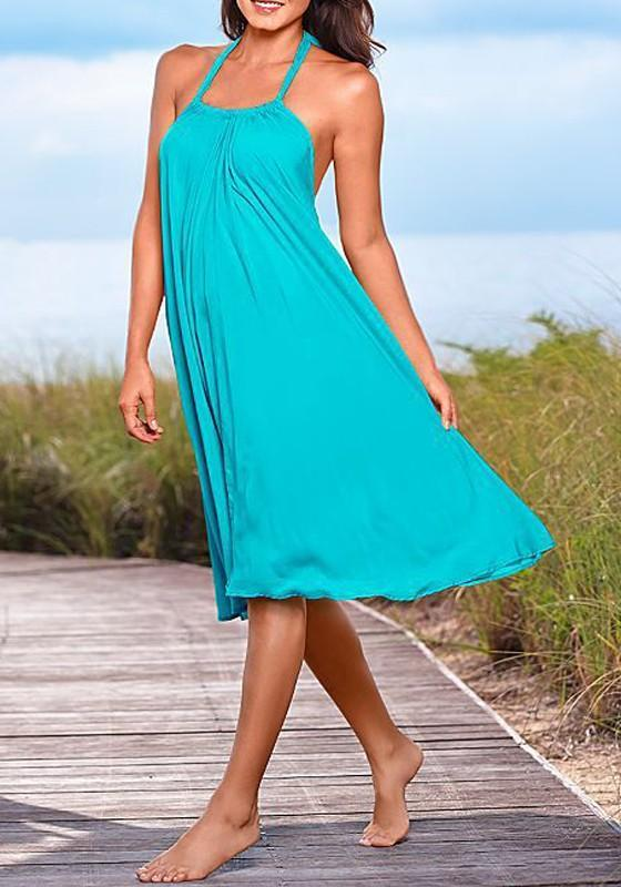 Sky Blue Draped Halter Neck Backless Bohemian Casual Midi Dress