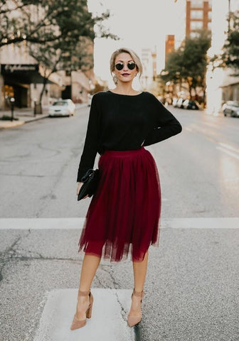 Burgundy Grenadine High Waisted Tutu Fluffy Tulle Party Midi Skirt