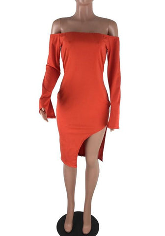 Orange Irregular Side Slit Bodycon Off Shoulder Long Sleeve Clubwear Party Midi Dress
