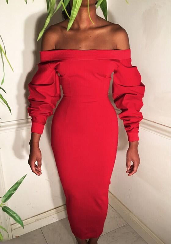 Red Boat Neck Off Shoulder Lantern Sleeve Fashion Bodycon Midi Dress