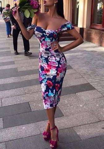 Navy Blue Floral Bodycon Off Shoulder Bohemian Cocktail Party Midi Dress