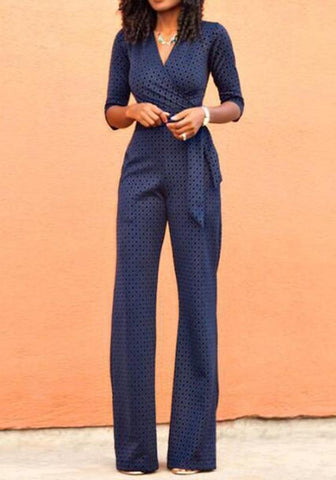 Navy Blue Floral Belt High Waisted Long Jumpsuit