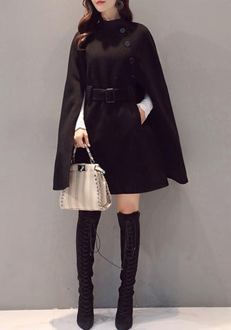 Black Patchwork Buttons Irregular Sashes Round Neck Cape Fashion Coat