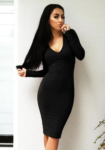 Black Plain Tie Black V-neck Fashion Midi Dress