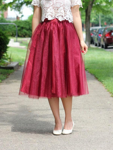 New Burgundy Maroon Patchwork Grenadine Pleated Plus Size High Waisted Tutu Cute Homecoming Party Skirt