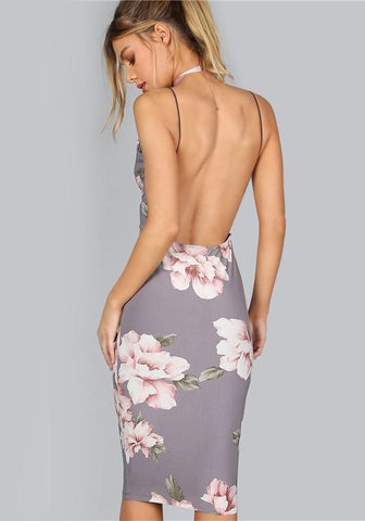 Purple Floral Print Irregular Condole Belt Backless Plunging Neckline Sleeveless Midi Dress