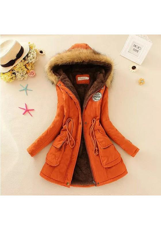 Nacarat Plain Pockets Drawstring Badge Fashion Coat