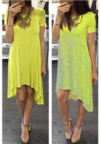 Yellow Irregular Round Neck Short Sleeve Fashion Midi Dress