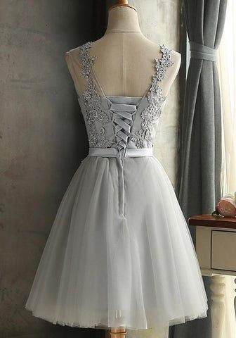 Grey Lace Bow Grenadine Lace-up Bridesmaid Elegant Tutu Homecoming Mini Dress