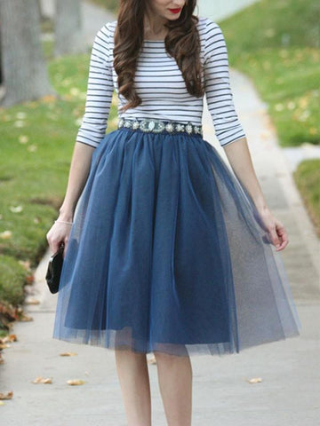 New Navy Blue Patchwork Grenadine Pleated Plus Size High Waisted Tutu Cute Homecoming Party Skirt