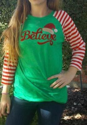 Green Striped Monogram Print Cute Round Neck Long Sleeve Christmas T-Shirt