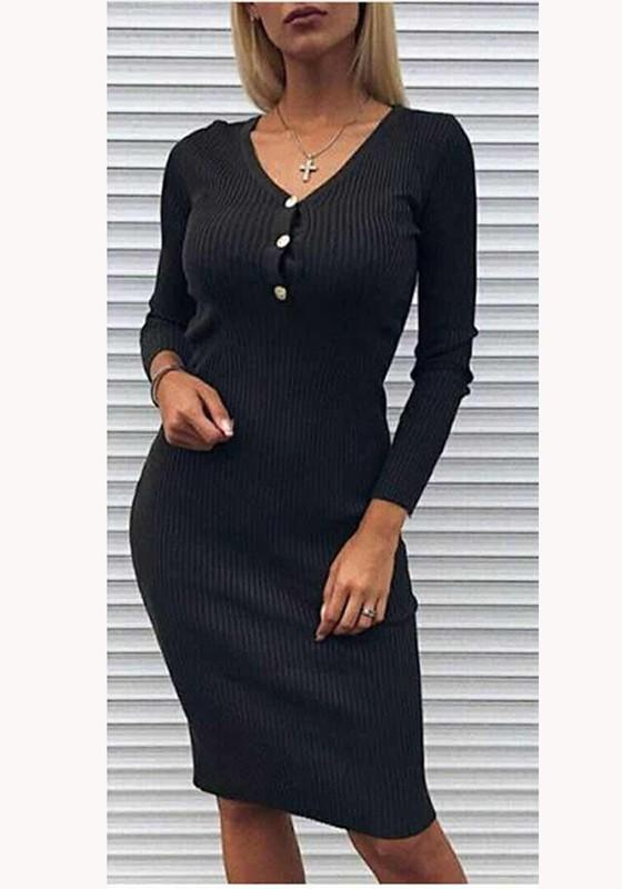 Black Plain Buttons V-neck Going out Midi Dress
